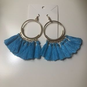 ⭐️NWOT Boho gold hoops with light blue tassels⭐️